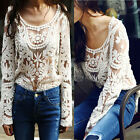 New Sexy Victorian Chic Beige Intricate Sheer Crochet Lace Top Sz S M