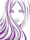 Beautiful Girl with Flowing Hair Silhouette Vinyl Wall Art Sticker in 24 Colours