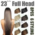 UK Long New Full Head Hair Extensions Curly/Straight Synthetic Clip in on 8 Weft