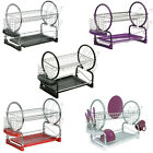 Dish Drainer 2 Tier Drip Tray Cutlery Drying Rack Chrome Black Red White Purple