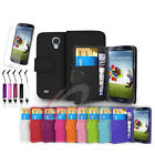 FLIP WALLET LEATHER CASE FITS SAMSUNG GALAXY S4 I9500 FREE SCREEN PROTECTOR