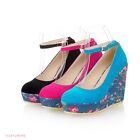 Women's Flower High Heels Wedges Bow Strappy Round Toe Shoes AU Size 4-8.5 Z186