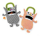 Mud Pie Halloween Black Orange Striped Candy Monster Bags #212A002 NWT