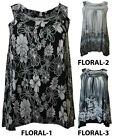 NEW LADIES FLORAL PRINT STRETCHY VEST WOMENS SLEEVELESS LONG TOPS SIZE 14-28