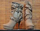 "Womens Luichiny "" Zen A Doo "" Fashion Tan Leather Ankle Boot with Faux Fur"
