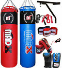 MADX 5ft Filled Heavy Punch Bag Custom Build Set,Chains,Bracket,Gloves,Red,MMA