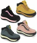 WOMENS LADIES SAFETY TRAINERS LEATHER STEEL TOE CAPS HIKING ANKLE BOOTS SHOES