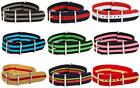 20mm CLASSIC SS Nylon STRIPED Interchangeable Replacement Watch Strap Band