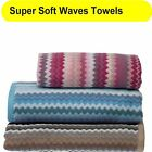 Soft ZigZag Waves Cotton Luxury Bathroom Towels Hand / Bath / Sheet Available