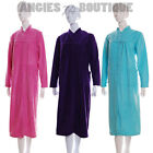 Satin Trim Button Through Fleece Dressing Gown/Robe 10 12 14 16 18 20 22 24