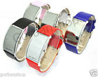 Womens Ladies Luxury Date Leather Wrist Band Red Digital Led Light Mirror Watch