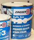 ZINSSER BULLS EYE 123 PRIMER SEALER STAIN KILLER. 500 ML 1 LTR 2.5 LTR, 5 LTR