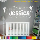 Personalised Name Girls Wall Art Sticker - Fairies Fairy Tinkerbell Stars, Fonts