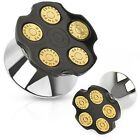 Pair of Surgical Steel Double Flared Loaded Bullets Design Ear Plugs Tunnels