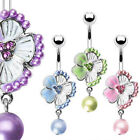 Tropical Flower Pearl Dangle Belly Ring Navel Naval Pink, Purple, Green, Blue