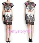 New Woman Girl Trendy Fashion Vintage Floral Print Lace Trim  Dresses Skirt