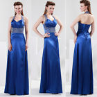 Blue Women's Halter Banquet Ball Gown Bridesmaid Wedding party prom formal dress