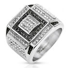 Stainless Steel Micro Paved Black and Clear CZ Square Cast Ring Men's Band