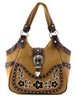 Western Rhinestone Belt Buckle Embroidery Flower Tote Purse Handbag Brown+4Color