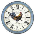 Large wall  Carolina Blue Rooster Clock, 12- 48 Whisper Quiet, Non-Ticking