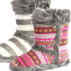 Ladies Girls Childrens Divaz Slipper Boots Faux Fur Aztec Stripe UK 3-8 Tallin