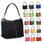New Real Italian Suede Leather Mini Slouch Hobo Shoulder Handbag - 25+ Colours