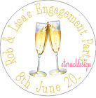 PERSONALISED ENGAGEMENT CHAMPAGNE GLASS STICKERS SEALS GIFT FAVOURS INVITES ENG6