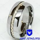 8mm Men Tungsten Silver Inlay Wedding Band Engagement Ring Size 8-14 Comfort Fit