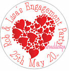PERSONALISED ENGAGEMENT RED LOVEHEART  STICKER SEALS GIFT FAVOUR INVITES ENG15
