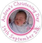 PERSONALISED CHRISTENING DAY BABY PHOTO STICKER SEAL GIFT FAVOUR INVITE CDCS2