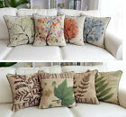 """18""""Linen Throw Pillow Cushion Cover French Country Cottage Plant Tree Green Leaf"""