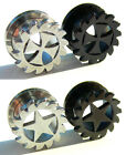 Steel Screw Saw Blade With Cross Or Star Ear Tunnel Plug 8mm - 18mm 2 Colours