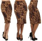 ANIMAL PRINT STRAIGHT PENCIL SKIRT Below Knee Straight Leopard S M L 1X 2X 3X