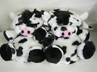 LADIES FUN NOVELTY SLIP ON WHITE/ BLACK COW SLIPPERS
