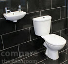 Cloakroom Bathroom Suite with Small Wall Mounted Basin Sink and Toilet