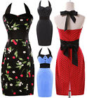Womens Girls Floral Halter Cotton Ball Cocktail Evening Prom Party Pencil Dress