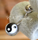 Unique 316L Surgical Steel Simple Tai Chi Yin Yang Navel Bar Belly Ring Rare