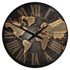 Large wall clock, Industrial World Map Clock,12- 48 Whisper Quiet, Non-Ticking