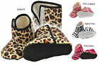 Baby Booties Shoes Boots. Warm Fleece Lined Animal prints, Leopard Zebra print