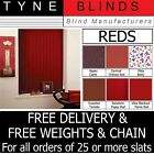 """From 99p Vertical blinds SLATS LOUVRES RED 3.5"""" 5"""" plain / blackout / washable"""