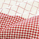 SOFT COTTON RETRO HOUNDSTOOTH GINGHAM CHECK FABRIC BEDDING CLOTH RED BLACK MATCH