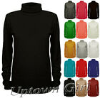 NEW WOMEN LADIES PLAIN POLO TURTLE NECK STRETCH LONG SLEEVE TOP JUMPER SIZE 8-26