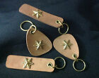 Magnetic Brown Leather Key ring Texas Stars Trim Key chain Novelty Item