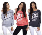 New Sexy Ladies Women Long Sleeved Top Shirt Jumper Size 8/10/12 S/M/L