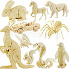 DIY 3D Jigsaw Woodcraft Kits Realistic Animal Wooden Model Toy Puzzle Gift