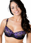 BNWT Stunning underwired bra in black with purple floral lace detail