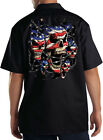 Patriotic Skulls Breakthrough USA America Mechanics Dickies Black Work Shirt