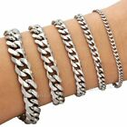 "7-11"" MENS Silver Stainless Steel Chain Bracelet 3/5/7/9/11/mm Cuban Curb Link"