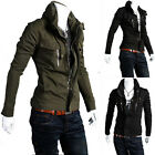Men's Cool Korean Trench Spring Fall Winter Jacket Stand-Up Collar Slim Fit Coat