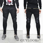 Faux Leather Knee Gold Zipper Leg Mens Slim Black Biker Jer Sweatpants Guylook